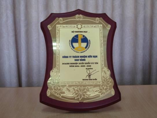 Giải thưởng doanh nghiệp xuất khẩu uy tín ( 2004 – 2005 – 2006 )