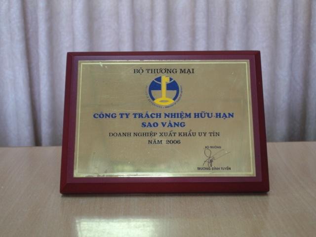 Giải thưởng doanh nghiệp xuất khẩu uy tín ( 2006 )